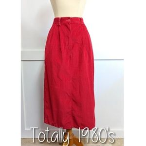 Vintage 1980's Red Corduroy Skirt size 10